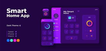 modello di progettazione adattiva della schermata dell'app smart home. vettore