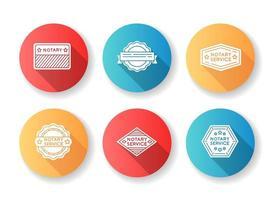 servizio notarile francobolli design piatto glifo set di icone.
