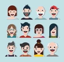raccolta di avatar di cartoni animati sorridenti felici vettore