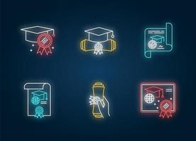 set di icone di luce al neon diploma. certificato scolastico. vettore
