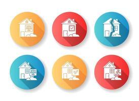immobiliare importa set di icone glifo design piatto.