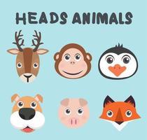 collezione di teste di animali carini vettore