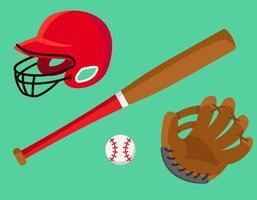 set di accessori da baseball vettore