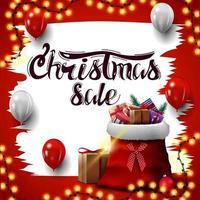 banner di sconto bianco e rosso quadrato di Natale vettore