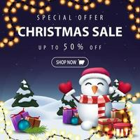 banner sconto blu di Natale con paesaggio invernale dei cartoni animati
