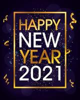 felice anno nuovo, celebrazione del poster dorato 2021 vettore