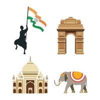 set di icone di celebrazione del giorno dell'indipendenza dell'india vettore