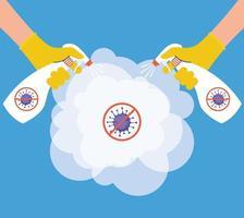 prevenzione del coronavirus con disinfezione delle mani con flacone spray vettore