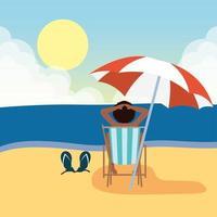 donna che prende il sole in spiaggia, scena estiva vettore