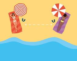 donne che praticano l'allontanamento sociale in spiaggia vettore