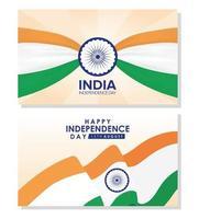 felice giorno dell'indipendenza dell'india celebrazione banner set vettore