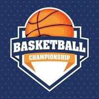 emblema dello scudo sportivo campionato di basket con la palla