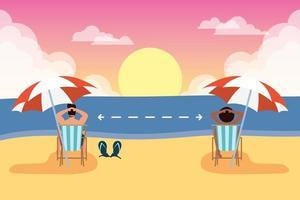 persone che praticano la distanza sociale in spiaggia vettore