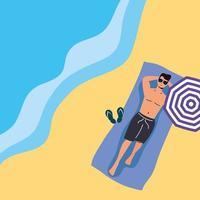 uomo che prende il sole in spiaggia, scena estiva vettore