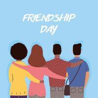 giovani felici che abbracciano per la celebrazione del giorno dell'amicizia vettore