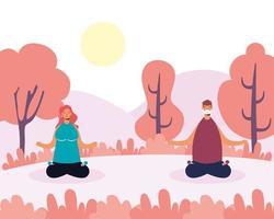 persone che fanno yoga al parco con distanza sociale vettore