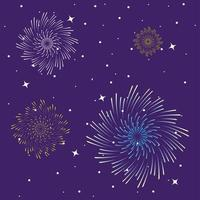 fuochi d'artificio scoppiano esplosione nel cielo di notte vettore