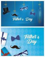 banner festa del papà con icone maschili antiche vettore
