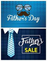banner di vendita di festa del papà con icone maschili antiche vettore