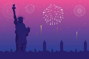 fuochi d'artificio scoppiano esplosioni sullo sfondo di New York vettore