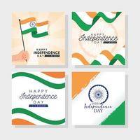 felice giorno dell'indipendenza dell'india celebrazione banner set