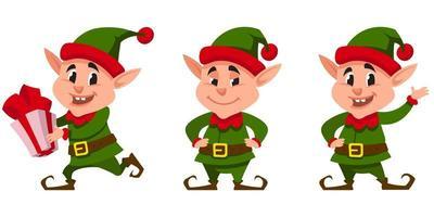 elfo di Natale in diverse pose vettore