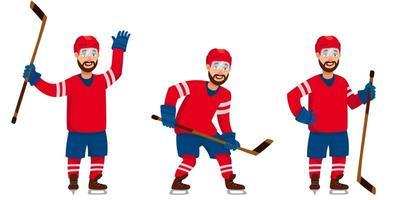 giocatore di hockey in diverse pose vettore