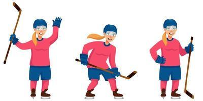 giocatore di hockey femminile in diverse pose vettore