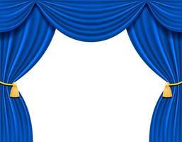 tenda blu teatrale per l'illustrazione vettoriale di design