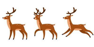 renne di Natale in diverse pose vettore