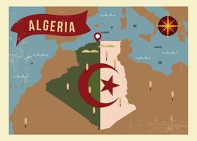 Vettore d'annata dell'illustrazione della mappa dell'Algeria