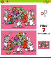 compito di differenze con i personaggi dei cartoni animati di Pasqua vettore