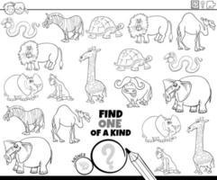 gioco unico nel suo genere con la pagina del libro a colori degli animali vettore