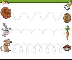 traccia le linee che scrivono la cartella di lavoro delle abilità per i bambini vettore