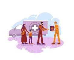 banner di aiuti umanitari vettore