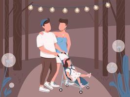 giovane famiglia che cammina nel parco notturno vettore