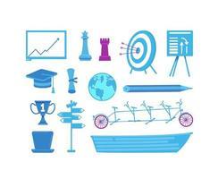 set di oggetti aziendali e istruzione