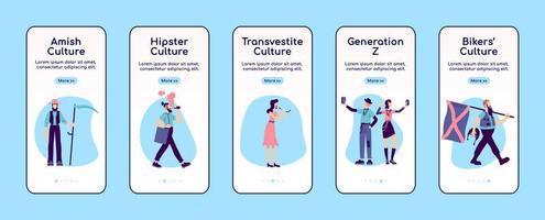 schermata dell'app mobile per l'onboarding della sottocultura vettore