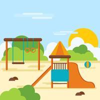 Playhouse nel mezzo di un illustratore di parchi giochi vettore