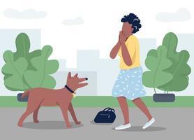 donna di attacco di cane