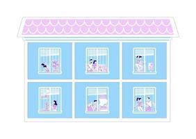 sagoma piatta di finestre di casa vettore