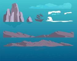 set di oggetti di rocce di mare vettore