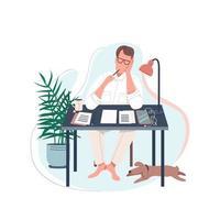 scrittore freelance alla scrivania vettore