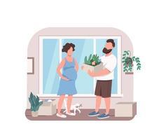 giovane coppia piantare fiori vettore