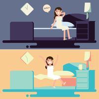Bedtime e Morning Illustration Vector