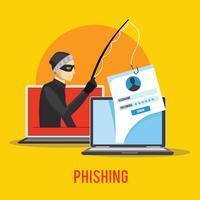 Hacker Phishing Data via Internet vettore