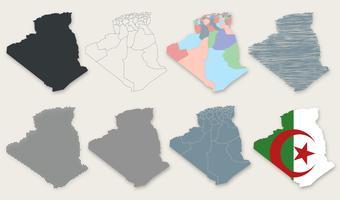 vector collezione di mappe algeria