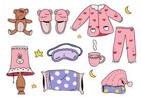 Illustrazione disegnata a mano di vettore del pacchetto del dispositivo d'avviamento della ragazza di ora di andare a letto