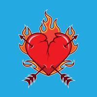 Illustrazione di cuore fiammeggiante rotto vettore