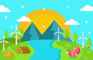 Natura del paesaggio con risorse, acqua, vettore della turbina di vento